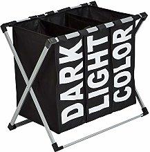 Amazon Basics Triple Laundry Basket Hamper, Black