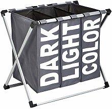 Amazon Basics Triple Laundry Basket Hamper, Dark