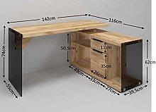 Amazon Brand -Movian Salto Corner Desk, 141.8 x