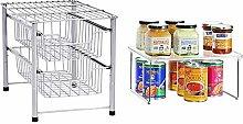 AmazonBasics 2-Tier Sliding Basket Organizer,
