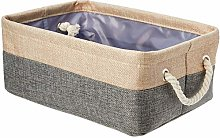 AmazonBasics Linen Storage Basket with Handles,