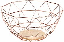 AmazonBasics Metal Wire Fruit Basket with Wooden