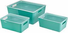 AmazonBasics Plastic Kitchen Storage Bins - Set of