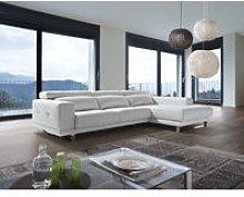 Ambar Italian Leather Corner Group Sofa Blanco