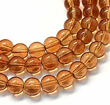 Amber Glass Round Beads 6mm One Strand (Approx 145