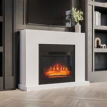 AmberGlo Black & White Matte Electric Fireplace
