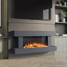 AmberGlo Grey Wall Mounted Electric Fireplace