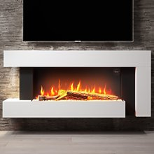 AmberGlo Wall Mounted Electric Fireplace Suite in