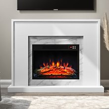 AmberGlo White Marble Effect Electric Fireplace