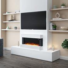 AmberGlo White Wall Mounted Electric Fireplace
