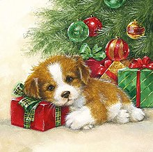Ambiente Christmas Napkin 33cm Guard Dog Puppy
