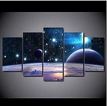 AMDPH Canvas Print 5Pcs Picture Reflection Space