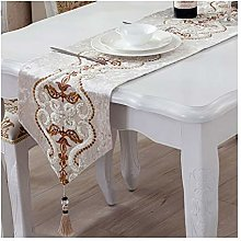 AMDXD Beige White Cotton Linen Table Runner,