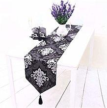 AMDXD Black Gray Cotton Linen Table Runner,