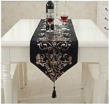 AMDXD Black Table Runners Cashmere, Flowers Luxury