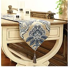 AMDXD Blue Table Runner Cotton Linen, Vintage