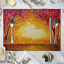AmDxD Cotton Linen Table Mats, Placemats 4 Pack