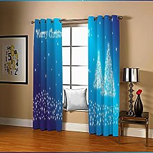 Amdxd Curtain for Living Room Blue Christmas Tree