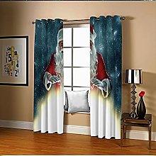 Amdxd Curtain Panels Blue Red Santa Claus &