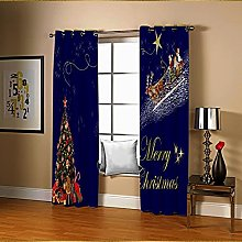 Amdxd Curtains for Bedroom 2 Panels Set Dark Blue