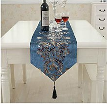 AMDXD Dark Blue Cashmere Table Runners, Flowers