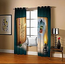 Amdxd Door Window Curtains Green Book Oil Lamp