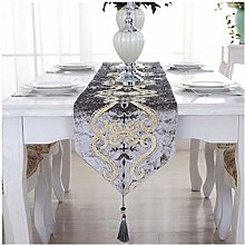 AMDXD Gray Cotton Linen Table Runner, Embroidery