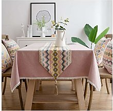 AMDXD Pink Table Runner Polyester, Jacquard Wave