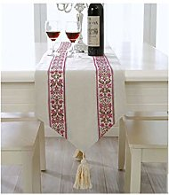 AMDXD Rose Red White Table Runner Cotton Linen,