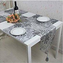AMDXD Silver Gray Cotton Linen Table Runner,