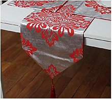 AMDXD Silver-Red Silk Table Runners, Flower