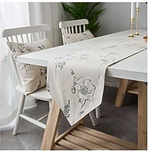 AMDXD White Cotton Linen Table Runner, Flower Bee