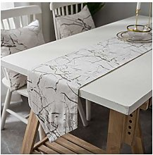 AMDXD White Cotton Linen Table Runner, Marble
