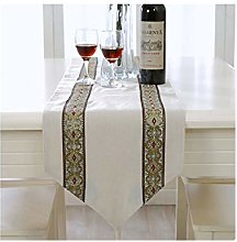 AMDXD White Gold Cotton Linen Table Runners,