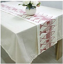 AMDXD White Red Cotton Linen Table Runner,