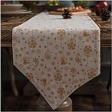 AMDXD White Table Runner Cotton Linen, Christmas