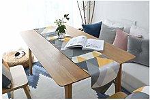 AMDXD Yellow Cotton Linen Table Runner, Geometric