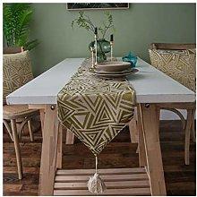 AMDXD Yellow Cotton Linen Table Runner, Jacquard