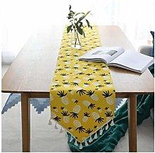 AMDXD Yellow Cotton Linen Table Runner, Pineapple