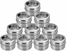 Amecty 10 Pack Magnetic Spice Jars, Stainless
