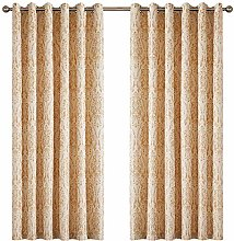 AMEHA Jacquard Curtains Pair Of Fully Lined Ring