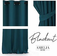 AmeliaHome Pack of 1 Opaque Curtain, Polyester,