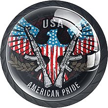 American Flag Eagle Gun Black Drawer Pulls Crystal
