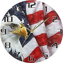 American Flag USA Wall Clock Silent Non Ticking,