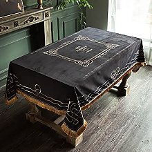 American Simple Black Gold Tassel Tablecloth Thick