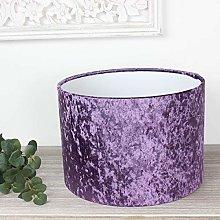 Amethyst Crushed Velvet Drum Lampshade (30 cm