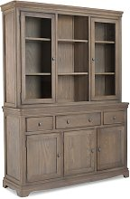 Ametis Large Display Cabinet In Grey Washed Oak