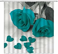 AMHNF Teal Rose Shower Curtain Romance Teal Rose