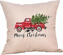 AMhomely Merry Christmas Pillow Cases Cotton Linen