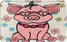 AMIGGOO Entrance Rug Floor Mats,Pink Pig With